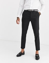 Burton Menswear Slim Fit Trousers In College Stripe Grey