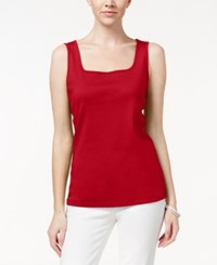 Karen Scott Square Neck Tank Top Only At Macy's New Red Amore