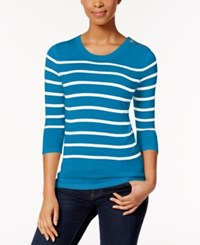 Kensie Striped Button Detail Sweater Bright Blue Combo