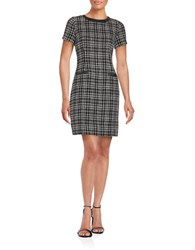 Karl Lagerfeld Faux Leather Trimmed Tweed Sheath Dress Black Ivory