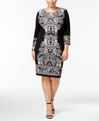 Jm Collection Plus Size Printed Keyhole Sheath Dress Created For Macy's Black Paisley