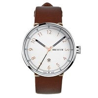 Bravur Watches Stainless Case White Dial Rose Numeral Index White Rose Gold Silver