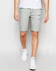 Asos Super Skinny Denim Shorts In Light Grey With Coating Light Grey