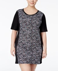 Dkny Plus Size Colorblocked Sleepshirt Black Dot Print