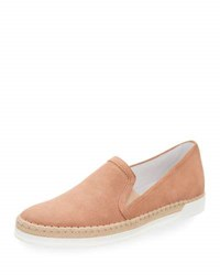 Tod's Suede Espadrille Slip On Sneaker Blush