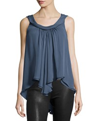 L'agence Christy Sleeveless Layered Top Blue Slate Women's Size X Small