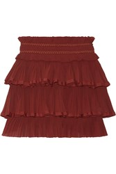 Isabel Marant Goya Tiered Cotton Pliss And Eacute Mini Skirt