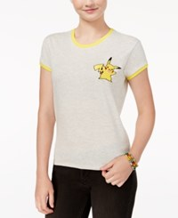 Mighty Fine Pokemon Juniors' Pikachu Graphic Ringer T Shirt Heather Oatmeal