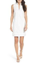 Eliza J Women's Mandarin Collar Shift Dress White