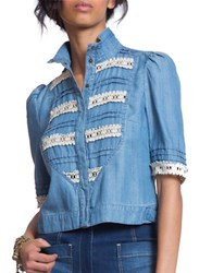 Plenty By Tracy Reese Contrast Lace Stitched Top Blue
