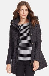 Women's Lauren Ralph Lauren Faux Leather Trim Quilted Anorak With Detachable Faux Fur Trim Hood