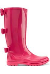 Red Valentino Redvalentino Bow Embellished Rubber Rain Boots Pink