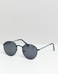 Asos Design Round Sunglasses In Navy Metal With Smoke Lens