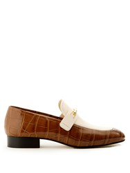 Joseph Bi Colour Crocodile Effect Leather Loafers Brown White