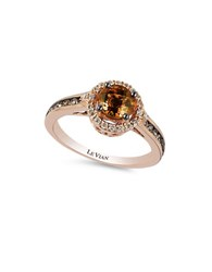 Le Vian Chocolatier Collection Caramel Quartz And Chocolate And White Diamond Ring 0.42K Rose Gold