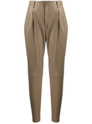 Red Valentino Tapered Leather Trousers 60