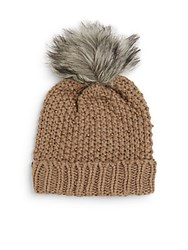 Saks Fifth Avenue Beaded Winter Faux Fur Hat Taupe