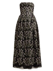 Erdem Karenna Deep Sea Embroidered Organza Gown Black Pink
