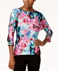 Cable And Gauge Floral Print Grommet Trim Top Pink Floral Print