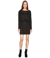 Just Cavalli Jersey Boat Neck Long Sleeve Dress Black