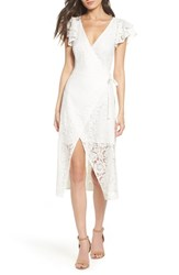 Ali And Jay Lace Paper Flowers Wrap Midi Dress White