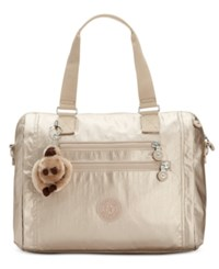 Kipling Bevine Medium Satchel Sparkly Gold Silver