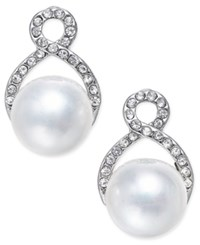 Inc International Concepts Silver Tone Imitation Pearl And Pave Post Earrings Only At Macy's