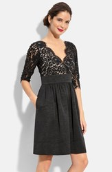 Petite Women's Eliza J Lace And Faille Dress Black