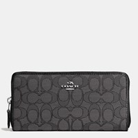 Coach Accordion Zip Wallet In Signature Canvas Silver Black Smoke Black