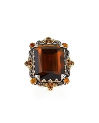 Konstantino Sterling Silver Emerald Cut Cognac And Citrine Ring With 18 Karat Gold Size 7