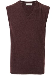 Gieves And Hawkes Sleeveless Fitted Sweater Red