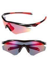 Oakley Women's M2 Tm Frame Xl Sunglasses Black Red Iridium Black Red Iridium