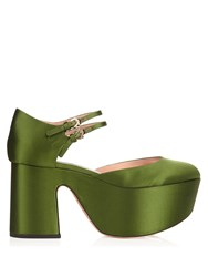 Rochas Satin Platform Pumps Green