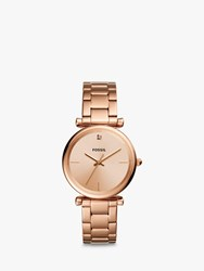 Fossil 'S Carlie Diamond Bracelet Strap Watch Rose Gold Es4441
