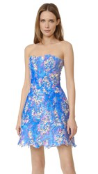 Monique Lhuillier Lace Strapless Dress Aquamarine Multi