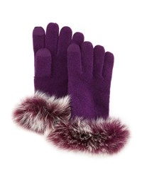 Neiman Marcus Cashmere Tech Gloves W Fox Fur Cuff Eggplant