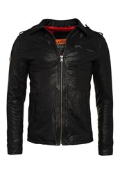 Superdry Hero Benjamin Leather Jacket Black
