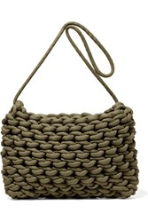 Alienina Fiona Woven Cotton Shoulder Bag Army Green