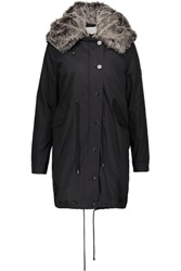 W118 By Walter Baker Alyssa Convertible Faux Fur Trimmed Cotton Canvas Hooded Coat Black