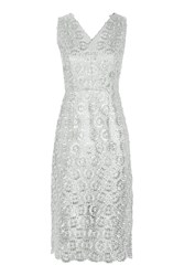 Topshop Metallic Plunge Mini Dress Silver