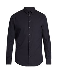Giorgio Armani Single Cuff Diamond Jacquard Shirt Navy