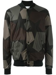 Ports 1961 Camouflage Print Bomber Jacket Green