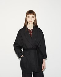 Etoile Isabel Marant Ilona Cotton Linen Trench Faded Black