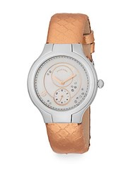 Philip Stein Teslar Round Stainless Steel Diamond And Snakeskin Watch Rose Gold Silver