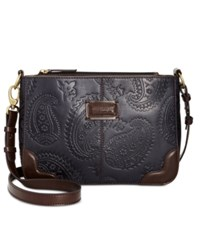 Tignanello Western Embossed Crossbody Navy Dark Brown
