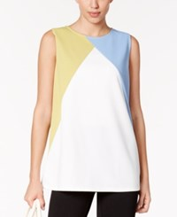 Alfani Colorblocked Shell Only At Macy's Gentle Blue Colorblock