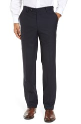 Berle Men's Flat Front Stretch Solid Wool Trousers Navy