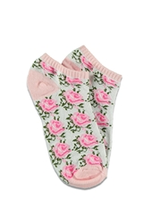 Forever 21 Rose Patterned Ankle Socks Light Pink Cream