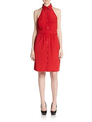 Moschino Silk Belted Sheath Dress Red