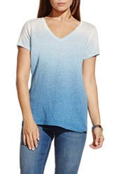 Women's Two By Vince Camuto Ombre V Neck Linen Tee Echo Blue